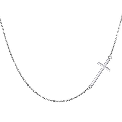 PureJill Sideways Cross Necklace for Women Sterling Silver Goddaughter Gifts from Godmother Religious Pendant Necklace Fine Jewelry Christian Sideways Cross Choker Necklace