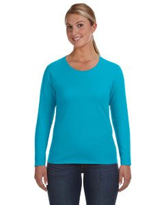 Anvil T-shirt Hat - Anvil 884L Ladies Ringspun Long-Sleeve T-Shirt - Caribbean Blue - 'XL