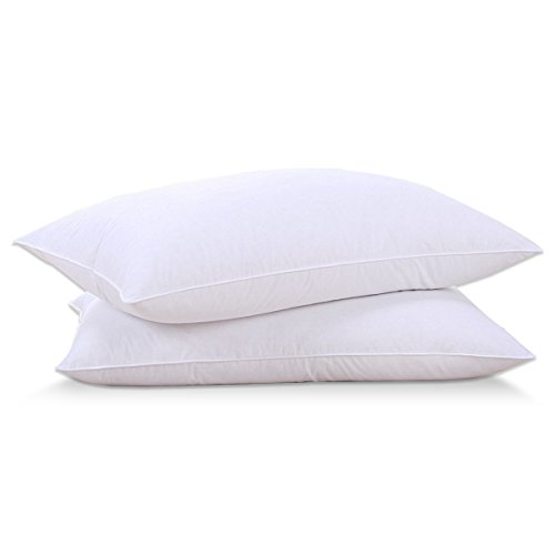 Puredown Goose Down Feather, White, Pillow Inserts for Sleeping,100% Cotton Fabric Cover Bed Pillows, Set of 2, Queen (Queen Bed Pillow)