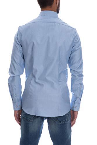 Camicia Klein Manica Lunga Calvin Uomo Scuro Celeste O5Zw4