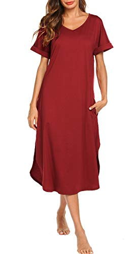 Aviier V Neck Nightgown Womens Full Nightgowns Loose Fit Sleepwear Long Loungewear Dress (red, XL) by Aviier