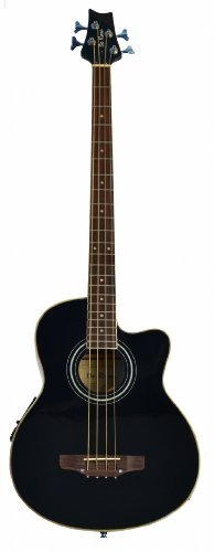 Directly Cheap 4 String Acoustic-Electric Bass Guitar, Black + Lessons (000-BT-GAB47-BK)