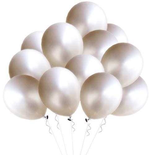 - Elecrainbow 100 Pack 12 Inch 280g Natural White Balloons, Round Matte White Balloons for Party, Birthday, Wedding Supplies and Decorations