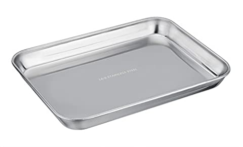 TeamFar 304 18/8 Stainless Steel Toaster Oven Pan Tray Ovenware, 7''x9''x1'', Heavy Duty & Healthy, Mirror Finish & Easy clean, Deep Edge, Dishwasher Safe (18/8 - Stainless Steel Jelly Roll