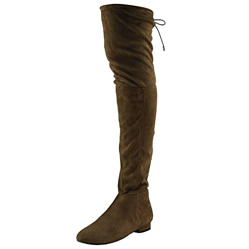 Womens Ladies Thigh High Over The Knee Low Heel Flat Lace Up Boots Shoes Size 3-8 Taupe With Lace