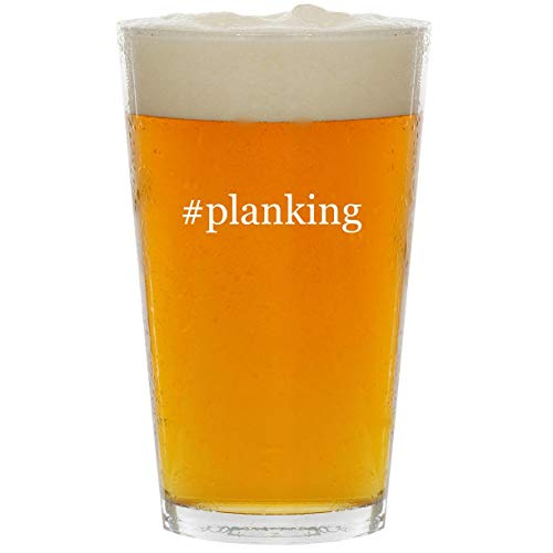 (#planking - Glass Hashtag 16oz Beer Pint)