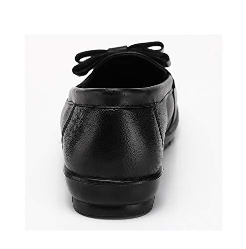 Cuir Grand mère Femmes Antidérapant 42 Sur Âgées Flâneur 35 Personnes Semelles Coupe Glisser Chaussures Confort Appartement Ballerine À Pour Souples Large Taille Noir 8nwkN0OPX