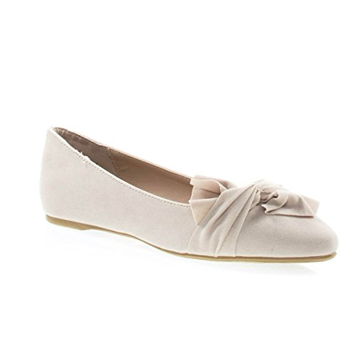 Women Ballet Pointed Close Toe Dress Flat Pump w Over Sized Bow Nude F-suede d57YrYa