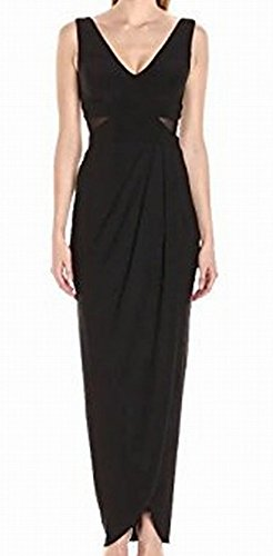 Xscape Women's Long Ity Drape Skirt With Vneck Top, Black, 8