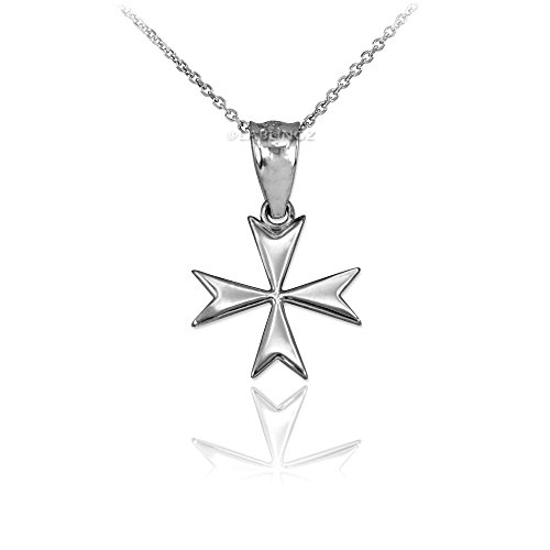 (10K White Gold Tiny Maltese Cross Charm Necklace (16))