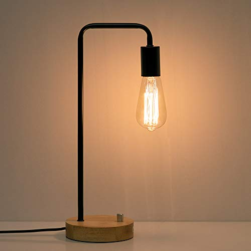 HAITRAL Industrial Desk Lamp - Wooden Table Reading Lamp for Office, Bedroom, Living Room (Without Bulb)