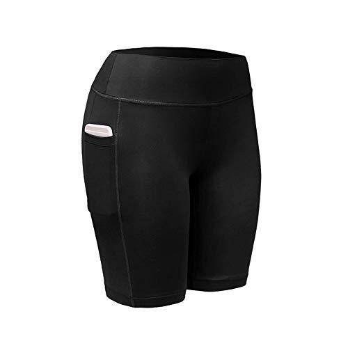 Mnyycxen Women's High Waist Yoga Pants, Pockets Tummy Control Workout Running Sports Shorts Pants Black