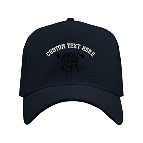 (Custom Baseball Cap Best Cousin Ever Stars Swirl Embroidery Acrylic Dad Hats for Men & Women Strap Closure Navy Personalized Text Here)