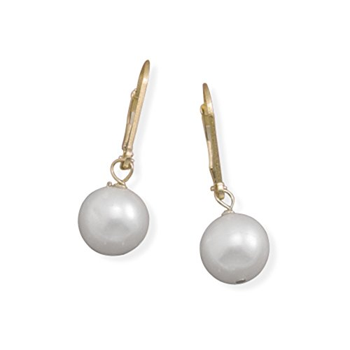 Gold Lever Back Pearl (White 8.5mm Cultured Freshwater Pearl 14k Gold-filled Lever Back Earrings)