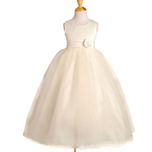 (DRESSY DAISY Girls' Empire Waist Wedding Flower Girl Dresses Pageant Party Dress Size 8 Ivory)