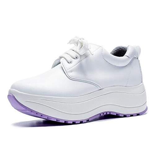 Verano Sneakers Cerrado Blanca ZHZNVX Primavera Zapatos Confortable Punta Negra Black Mujer Cuero de Creepers para Nappa con UqHwA81