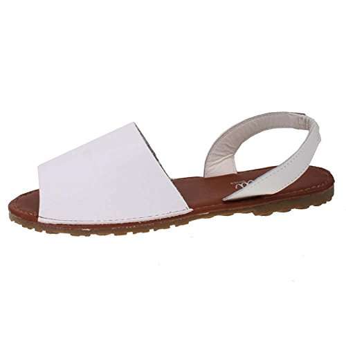 Summer Shoes Open Sandals Menorcan Sandals Pu Glitter Toe 3 Beach Slingback 8 Ladies Ella Spanish Flat White Size nx7v8RXwSq