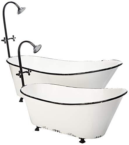 (GIL 2408800 S/2 Metal Bathtub Planters Spring, 36.8InL x 17.72InW x 29.3InH, White)