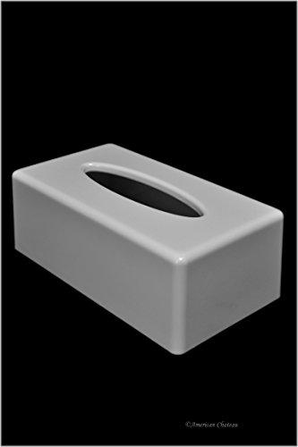 White Acrylic Rectangular Kleenex Tissue Dispenser Box Cover Holder