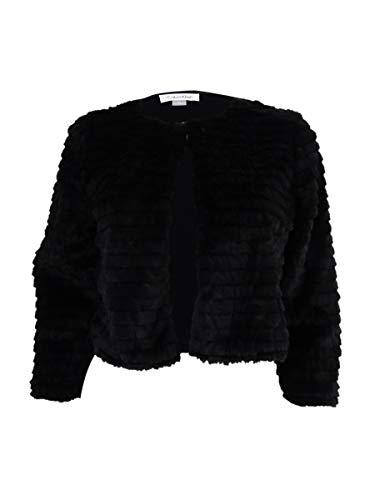 Calvin Klein Womens Petites Faux Fur Layering Cardigan Top Black PM