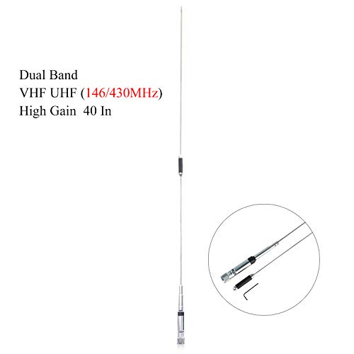 Mobile Antenna VHF UHF (146/430MHz) Dual Band Radio Antenna 40 Inch High Gain PL-259 Connector for Socotran ST-980Plus Mobile Radio