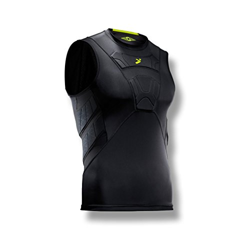 Storelli BodyShield Sleeveless Undershirt | Protective Soccer Base Layer | Lightweight Compression Top | Padded Chest and Rib Protection | Black | Youth Large