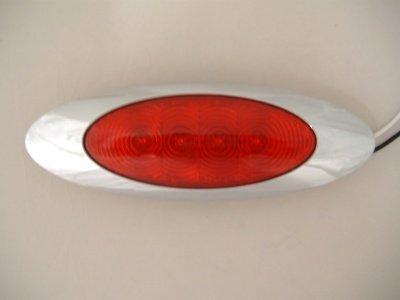 Red 4 LED RV Truck Trailer Side Marker Clearance Lights//Chrome Bezel