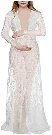 DSJTCH Fashion Maternity Photography Props Maxi Maternity Gown Lace Maternity Dress Fancy Shooting Photo Summe