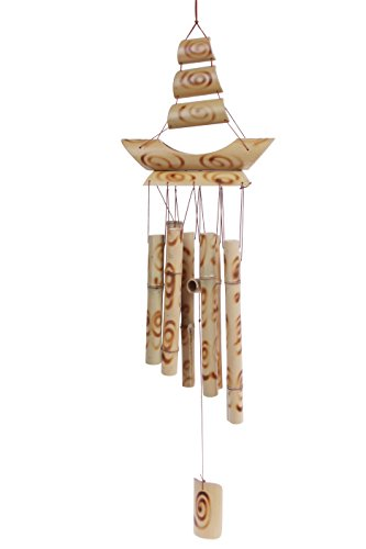 Bamboo Stalk Wind Chime - Wood Burned Swirl Designed Melodic Chime for Garden, Patio, Home - 24 Inches (Wood Chimes)