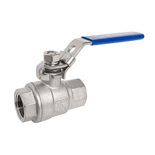 DuraChoice 304 Stainless Steel Ball Valve - Full Port - 1,000 WOG (PSI) Heavy Duty for Water, Oil, and Gas with Blue Locking Handles, NPT