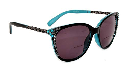 - Santa Monica, Bifocal Sunglasses, Sun Readers Women Bling with Hematite and Blue Zircon Swarovski Crystals +1.25 +1.50 +1.75 +2.00 +2.25 +2.50 +2.75 +3.00 Black + Turquoise Frame.