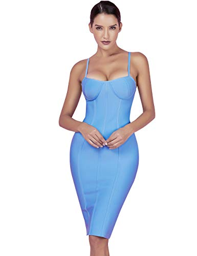 - Maketina Women's Spaghetti Strap Sleeveless Rayon Cocktail Bodycon Party Bandage Dress Blue M