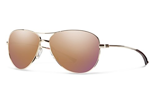 Smith Optics LANGLEY Sunglass, Carbonic Rose Gold Mirror Lens, - Mirror Lens Gold Aviator Sunglasses