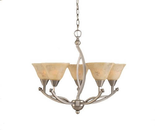 (Toltec Lighting 275-BN-508 Bow Five-Light Uplight Chandelier Brushed Nickel Finish with Italian Marble Glass Shade, 7-Inch)
