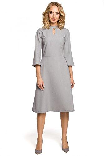 Tränchen Clea Ausschnitt mit am Grau glockigen mit Kleid und Ärmeln qqCwTxSFnE