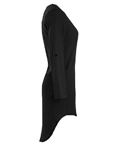 Black Dress Women Asymmetrical Long Chiffon Oversized Coolred Wild Hem Sleeve BAxgw8zqF