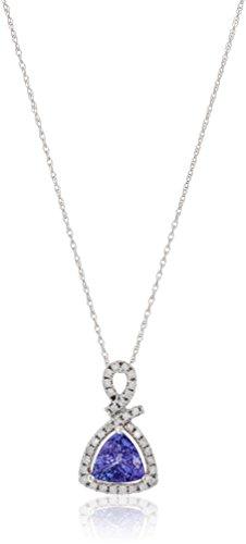 "14k White Gold 1 cttw Trillion Tanzanite and Diamond Halo Pendant Necklace (1/4 cttw, I-J Color, Clarity I2-I3), 18"""