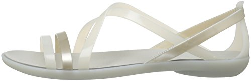 31OhSsNRUlL Crocs Women's Isabella Strappy W Flat Sandal, Oyster/Pearl White, 8 M US