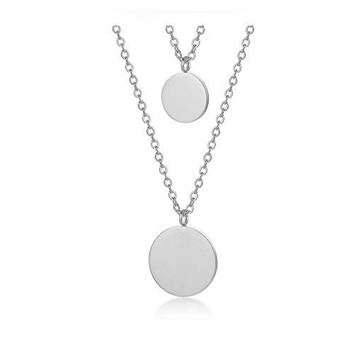 (WLL Double Gold Layered Chain Necklace Simple Disc Round Sequin Coin Necklace Bridal Jewelry (Silver))