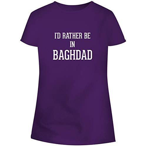One Legging it Around I'd Rather Be in Baghdad - Women's Soft Junior Cut Adult Tee T-Shirt, Purple, ()