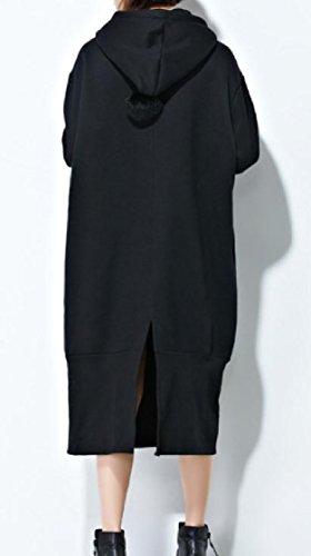 Drawstring Sweatshirts Pocket Coolred Hooded Women Party Black Dress Plus Size aZXfwZ