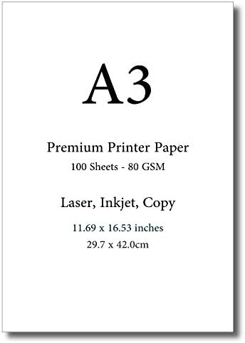 A3 Premium Printer Paper - 11.69 x 16.53 inches - International Size (100 Sheets)