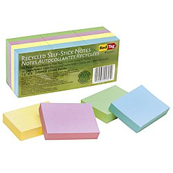 Redi-Tag 100 Percent Recycled Notes, 1-1/2 x 2 Inches, Four Pastel Colors, 12 100-Sheet Pads/Pack (RTG25701)