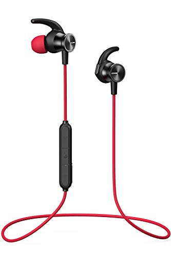 COOSII S7 Bluetooth Headphones, Wireless in Ear Earbuds with Mic and Magnetic Connection Sweatproof Earphones for Cell Phones Sport Running Workout Gym (Red)