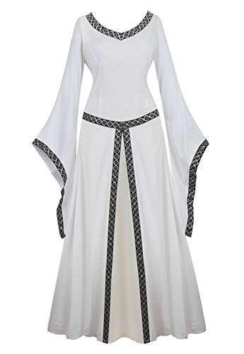 AOLAIYAOQU Renaissance Irish Medieval Dress for Women Plus Size Long Dresses Lace up Costumes Retro Gown White M