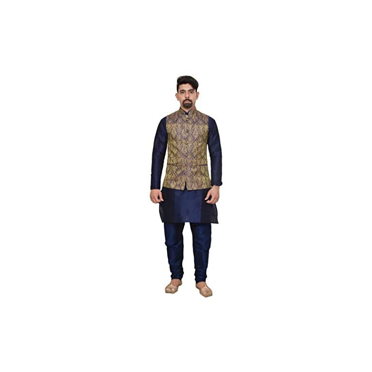 31VNC%2BeCmpL. SS768  - Mag Men's silk Kurta Churidhar With Waistcoat