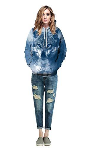 Manga Cappuccio Colour Moda Otoño Animales Unisex Sudaderas Pareja Con 6 Impresión Camicia Sudadera 3d Bolsillos Laterales Elegante Sweatshirt Casual Hoodie Capucha Primavera Larga Pnx15nvq