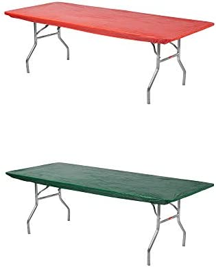 Kwik-Covers Rectangular Fitted Plastic Table Covers, 6 x 30 6 Feet , Red, Green