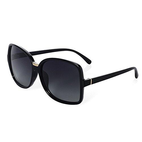 ovalada de TL gafas gran guía ronda Sunglasses de Tortoiseshell Retro mujer gafas de sol polarizadas sol black TUHTp7g