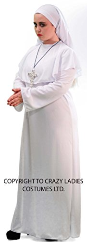 Sister Act Halloween Costume (Stage-Halloween-Horror-Zombies-Fancy Dress LADIES WHITE NUN COSTUME - ALL LADIES SIZES (UK 14))